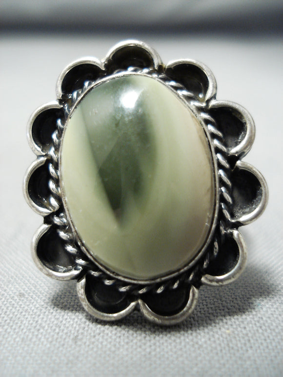 Amazing Vintage Native American Navajo Green Agate Sterling Silver Ring Old