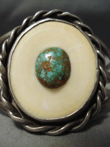 Striking Vintage Native American Navajo Domed Royston Turquoise Sterling Silver Bracelet Cuff