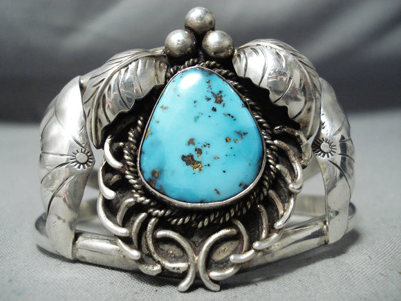 So Intricate!! Vintage Native American Navajo Turquoise Sterling Silver Swirl Bracelet Old