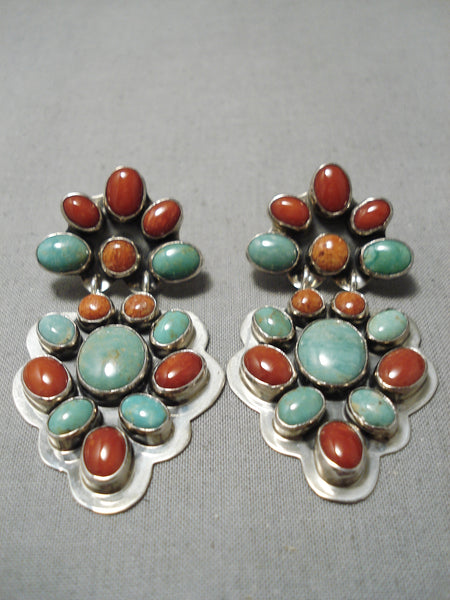 Quality Vintage Native American Navajo Royston Turquoise Coral Sterling Silver Earrings