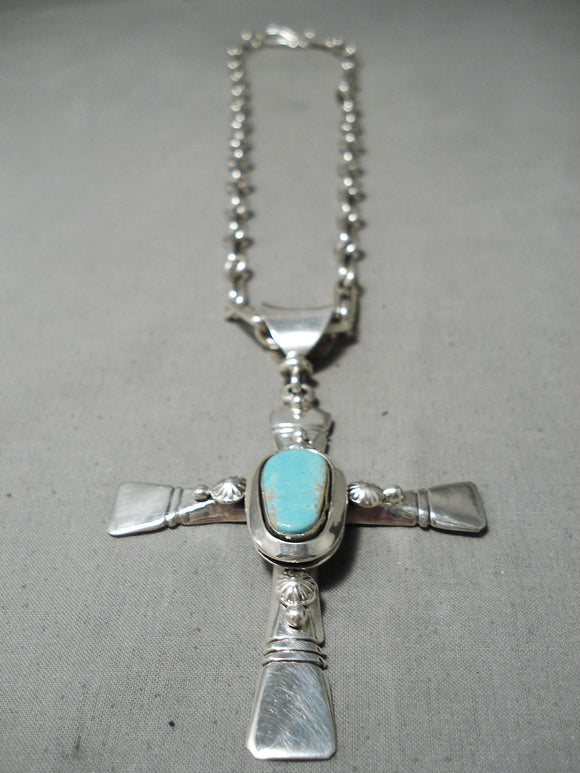 Breathtaking Vintage Native American Navajo Turquoise Sterling Silver Necklace Old