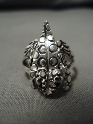 Important Native American Navajo Horned Toad Symbolic Sterling Silver Ring