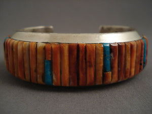 Fabulous Modernstic Navajo Shell Inlay Silver Bracelet