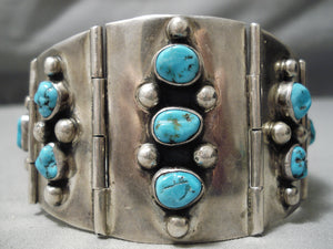 Best Vintage Native American Navajo Turquoise Sterling Silver Channel Link Bracelet Old