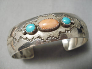 Amazing Vintage Native American Navajo Turquoise Sterling Silver Cloud Bracelet