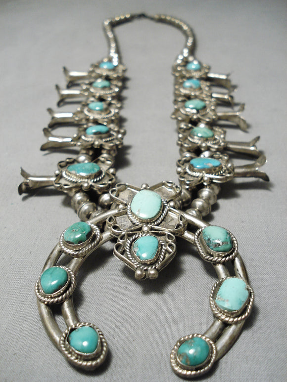 Museum Vintage Native American Navajo Royston Turquoise Sterling Silver Squash Blossom Necklace