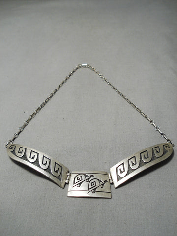 Important Vintage Native American Hopi Harry Lomayaktewa Sterling Silver Turtle Necklace