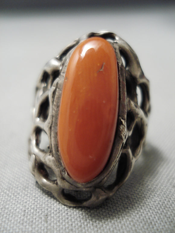Incredible Spiderweb Sterling Silver Shank Vintage Native American Navajo Coral Ring Old