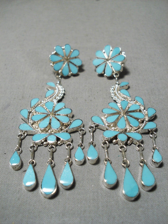 Tremendous Native American Zuni Chandelier Turquoise Sterling Silver Earrings