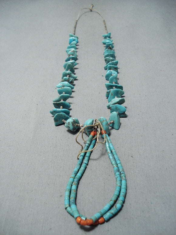 Exceptional Vintage Native American Navajo Turquoise Coral Heishi Necklace Jacla