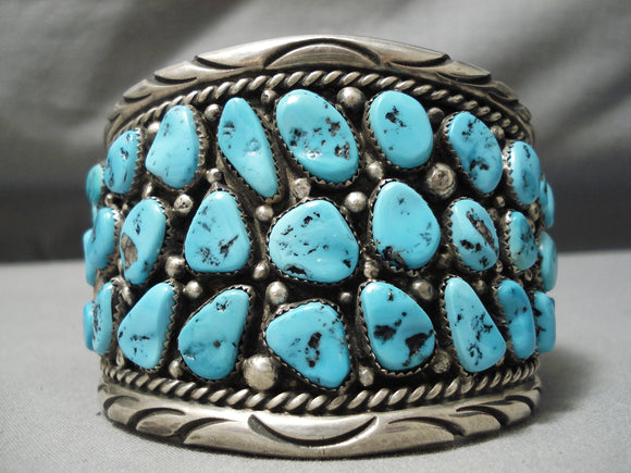Best Heavy Vintage Native American Navajo Classic Blue Turquoise Sterling Silver Bracelet