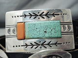 Famous Artist Vintage Native American Navajo Green Turquoise Coral Sterling Silver Concho Belt
