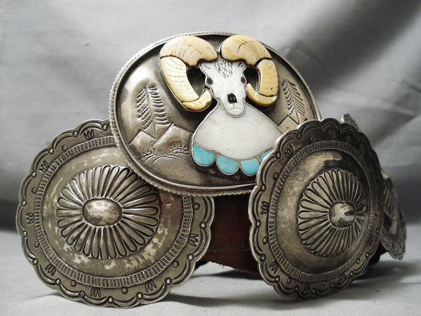 Important Best Vintage Native American Zuni Joe Zunie Turquoise Sterling Silver Concho Belt Old