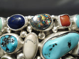 Museum Quality Vintage Native American Navajo Turquoise Multi Stone Sterling Silver Bracelet