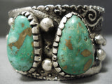 Statement Vintage Native American Navajo Damale Turquoise Heavy Sterling Silver Bracelet