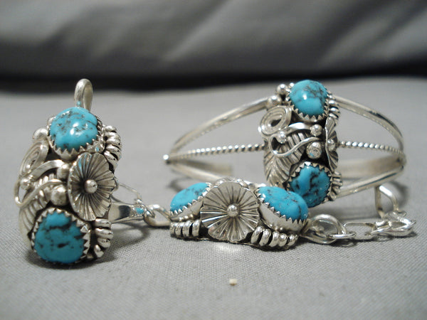 Marvelous Vintage Native American Navajo Slave Turquoise Sterling Silver Native Bracelet Ring