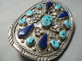 One Of The Best Vintage Native American Navajo Turquoise Lapis Sterling Silver Ketoh Bracelet