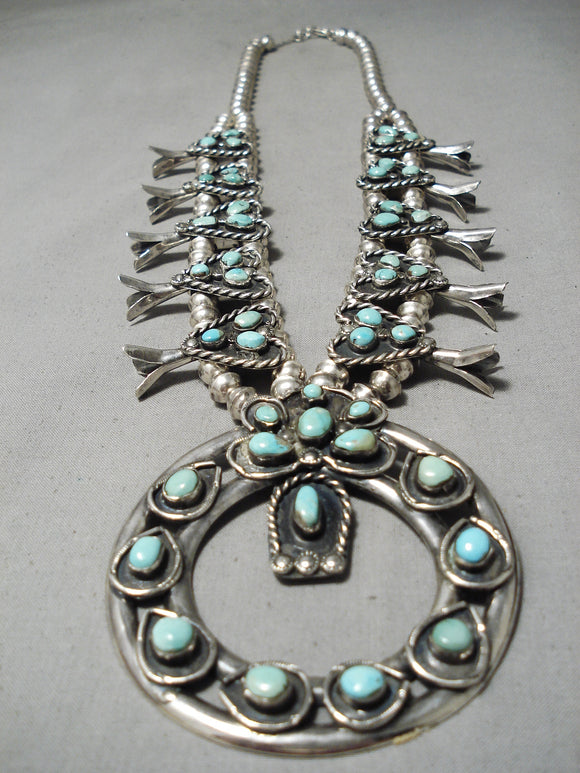 Rare Full Naja Vintage Native American Navajo Turquoise Sterling Silver Squash Blossom Necklace