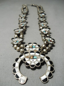 So Intricate!! Vintage Native American Zuni Turquoise Sterling Silver Squash Blossom Necklace