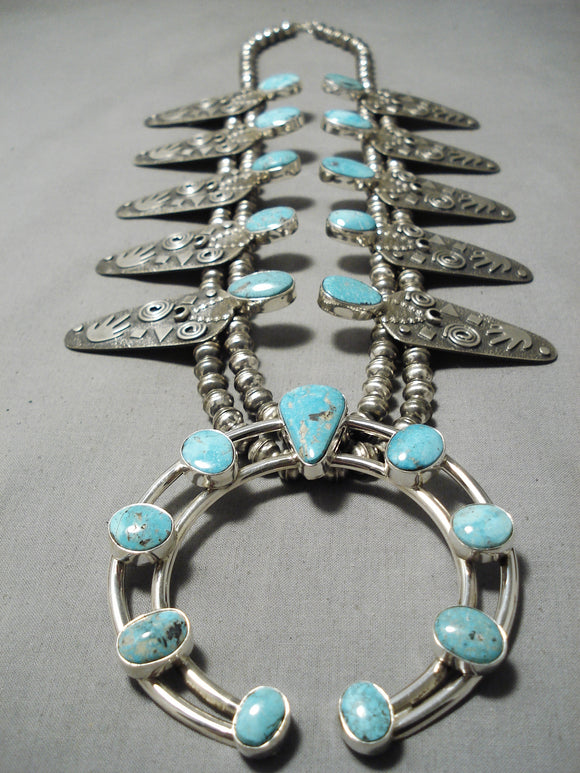 Carico Lake Turquoise Native American Sterling Silver Squash Blossom Necklace