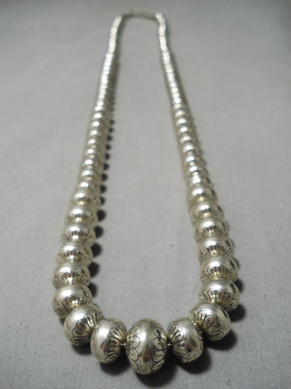 Stunning Vintage Native American Navajo Heavy Sterling Silver Bead Necklace