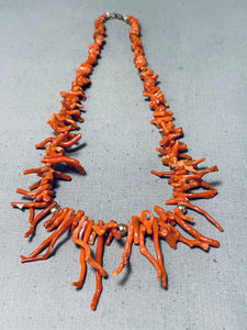 Stunning Vintage Native American Navajo Coral Sterling Silver Necklace