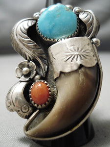 Superior Huge Vintage Native American Navajo Turquoise Coral Authentic Sterling Silver Ring