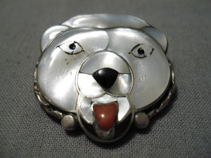 Unique!! Vintage Native American Zuni Native Sterling Silver Polar Bear Turquoise Pin Pendant