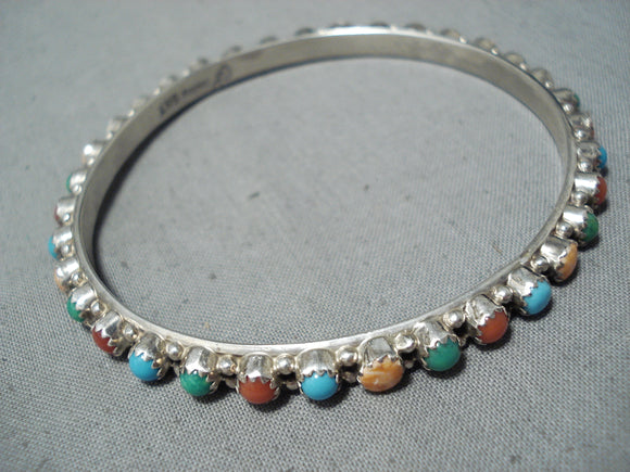 Colorful Native American Navajo Turquoise Coral Spiny Oyster Shell Sterling Silver Bangle