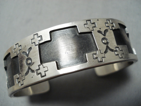 Heavy Cross Zuni Native American Sterling Silver Bracelet Cuff