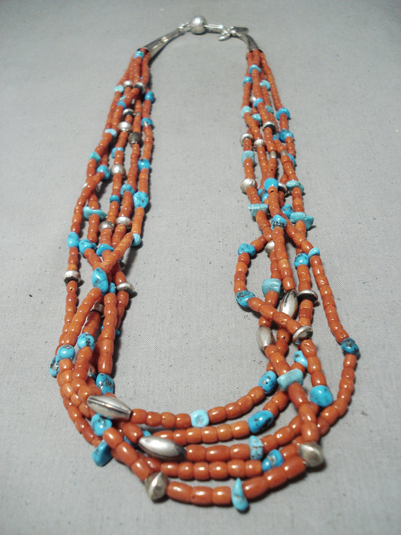 Orville Tsinnie Vintage Native American Navajo Coral Turquoise Sterling Silver Necklace
