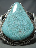 Spectacular Native American Navajo Signed Tight Spiderweb Turquoise Sterling Silver Bracelet