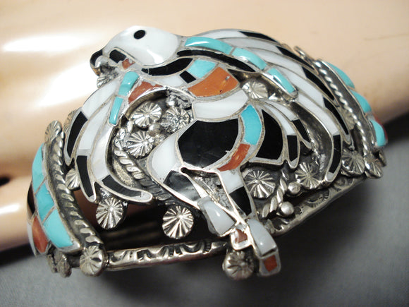 One Of The Best Vintage Native American Zuni Turquoise Sterling Silver Inlay Bracelet Old