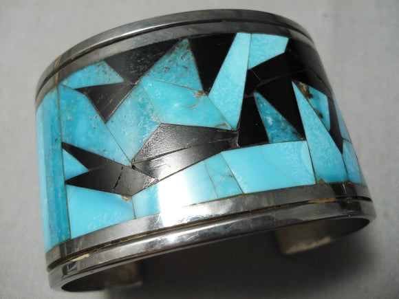 Native American One Of The Best Vintage Turquoise Sterling Silver Inlay Onyx Bracelet Old