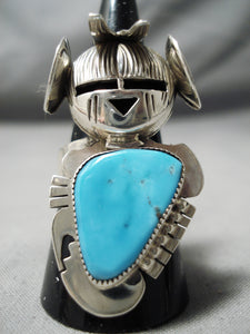 Amazing Vintage Native American Navajo Old Kingman Sterling Silver Kachina Ring