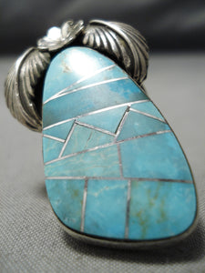 Huge Incredible Inlay Native American Navajo Turquoise Sterling Silver Leaf Ring
