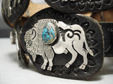 Important Vintage Hopi Native American Turquoise Sterling Silver Concho Belt