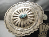 Rare Spiderweb Turquoise Vintage Native American Navajo Sterling Silver Concho Belt Old