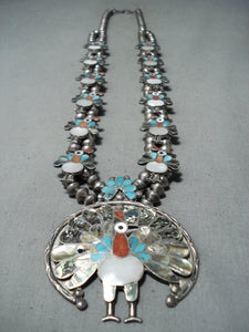 Native American Intricate Vintage Zuni Turkey Turquoise Sterling Silver Squash Blossom Necklace