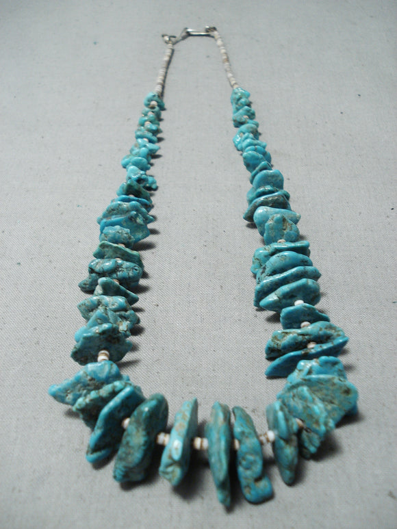 Amazing Vintage Native American Navajo Large Green Turquoise Sterling Silver Necklace