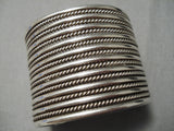 Native American Towering Huge Hand Wrought Sterling Silver Bracelet Old