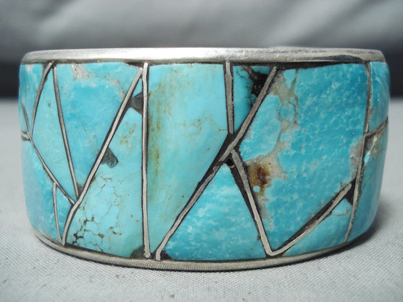 Awesome Vintage Native American Navajo Inlay Turquoise Sterling Silver Shadowbox Bracelet Old
