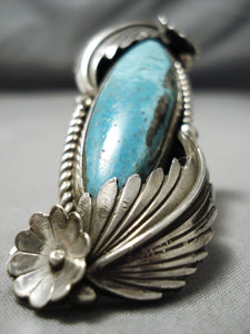 Huge Native American Turquoise Sterling Silver Native American Leaf Ring