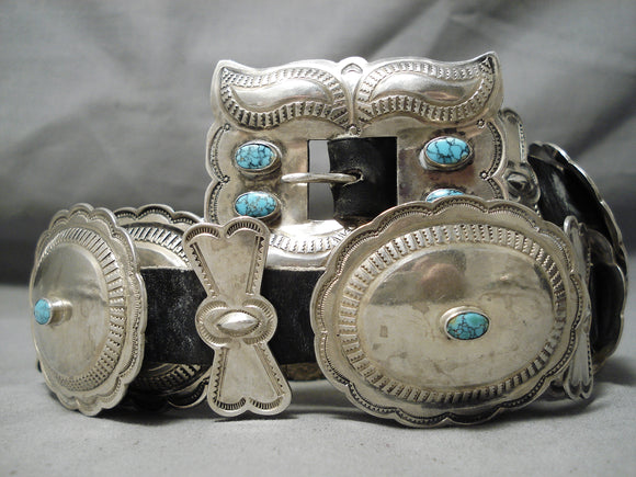 Statement Vintage Native American Navajo Lone Mountain Turquoise Sterling Silver Concho Belt Old
