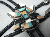 Native American Early Detailed Vintage Navajo Turquoise Sterling Silver Kachina Bolo Tie