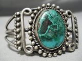 One Of The Best Early Vintage Native American Navajo Chrysocolla Sterling Silver Bracelet