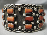 One Of The Best Vintage Navajo Coral Sterling Silver Native American Bracelet