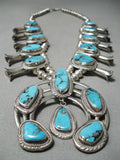 Blue Diamond Turquoise Vintage Native American Navajo Sterling Silver Squash Blossom Necklace