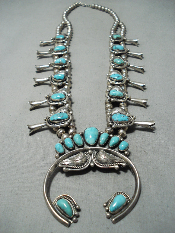 Signed Women's Vintage Native American Navajo Turquoise Sterling Silver Squash Blossom Necklace