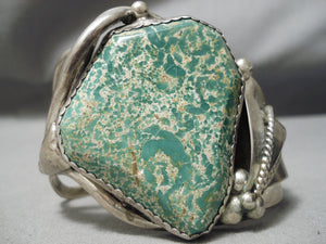 One Of The Best Vintage Native American Navajo Green Turquoise Sterling Silver Bracelet